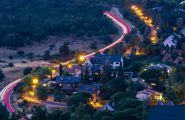 Light trails along M-601 road in Navacerrada, Madrid, Spain