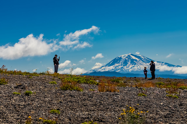 Family and Mount Adams in Mount St. Helens National Volcanic Monument