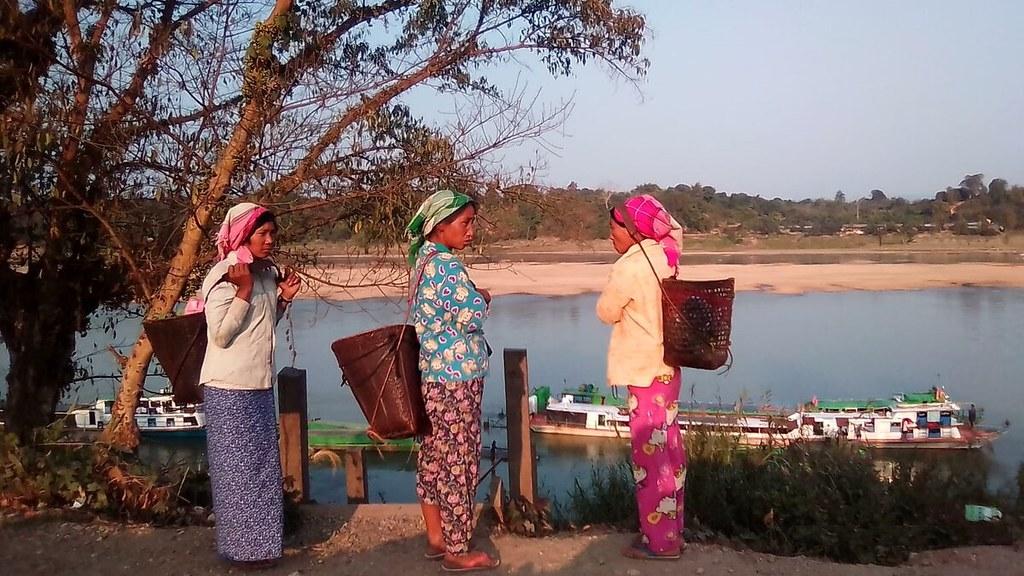 naga tribe members at Chindwin River