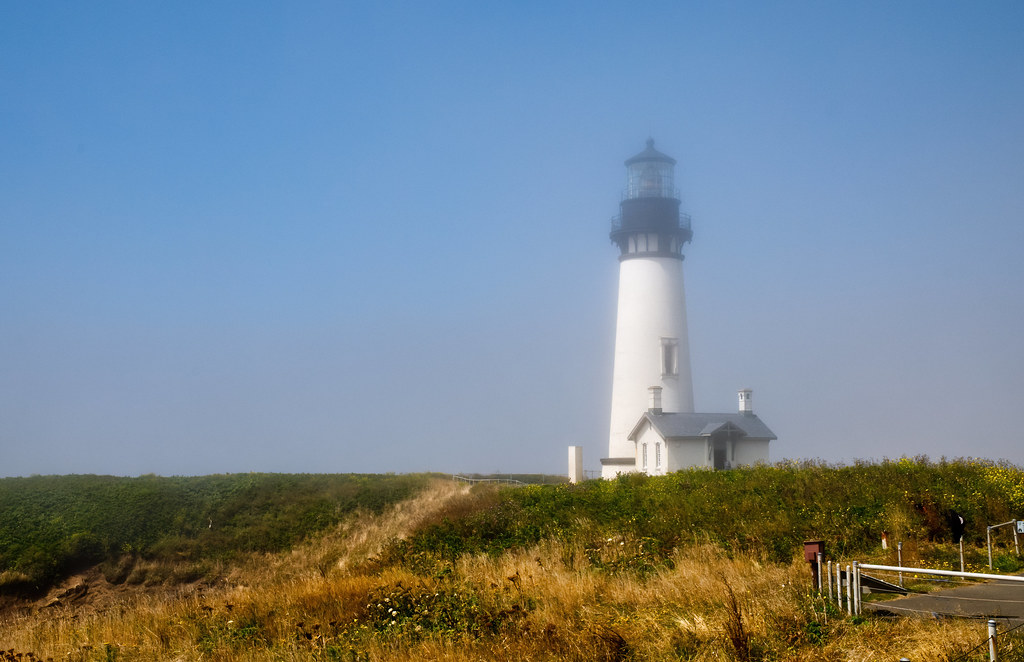 Yaquina Head Lighthouse in the fog