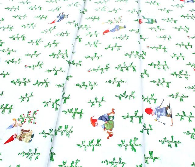 Windham Fabrics Winter Gnomes 51876-2 Tree Farm in Snow White
