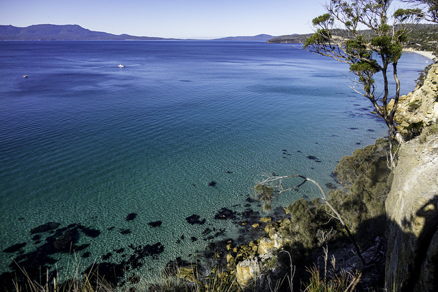 Looking south east towards Maria Island from a cliff face, around Orford, south east Tasmania-6
