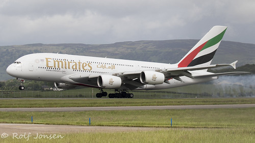 A6-EEL Airbus A380 Emirates Glasgow airport EGPF 01.06-19