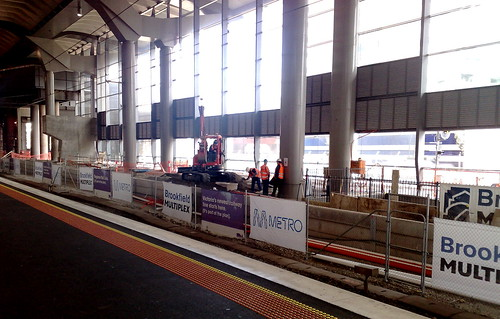 Southern Cross Station platforms 15+16 under construction, July 2010