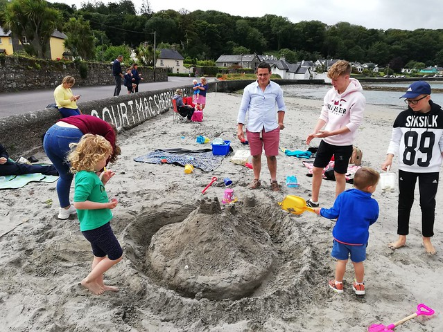 Building sandcastles at 'Church on the beach' in Courtmacsherry (Kilgariffe Union of Parishes), County Cork.