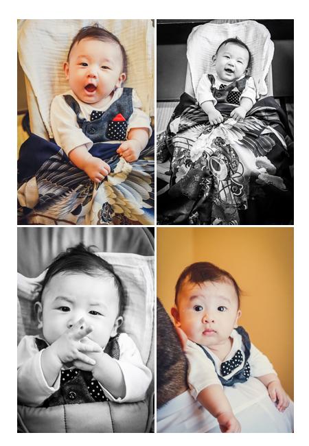 100日祝い(お食い初め)の日の赤ちゃん 記念写真撮影