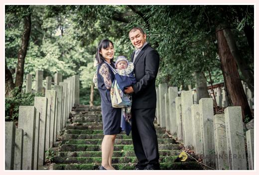 山口八幡社(愛知県瀬戸市)へお宮参り 家族の集合写真