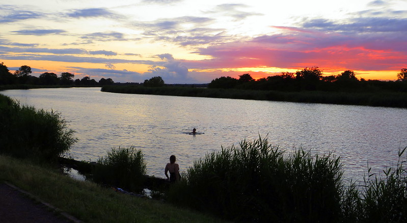 Swimming in the River after Sunset