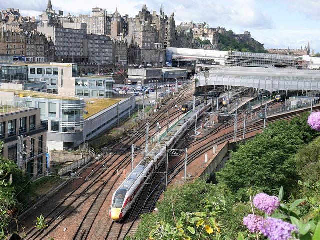 LNER Azuma set 801209 operating 5E12 from Craigentiiny Yard to Edinburgh Waverley entering Edinburgh Waverley on 28 July 2020. Prior to working 1E12 to London, Kings Cross.