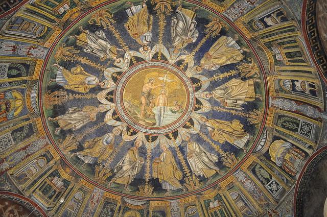 Coupole, baptistère des Orthodoxes ou de Néon, IVe-Ve siècles, Ravenne, Emilie-Romagne, Italie.