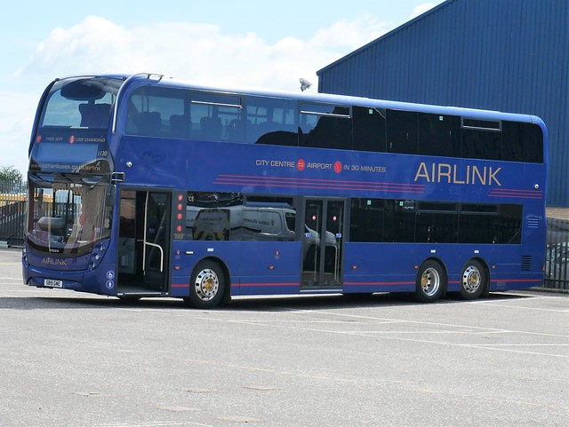Lothian Volvo B8L Alexander Dennis Enviro XLB SB19GME 1130, in the revised Airlink livery, at Seafield Garage on 28 July 2020.