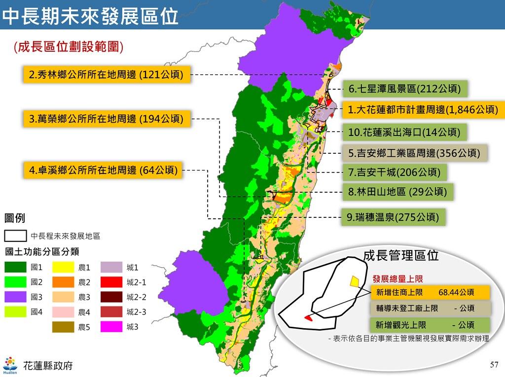 花蓮縣國土計畫草案中長期發展區位。圖片來源:簡報