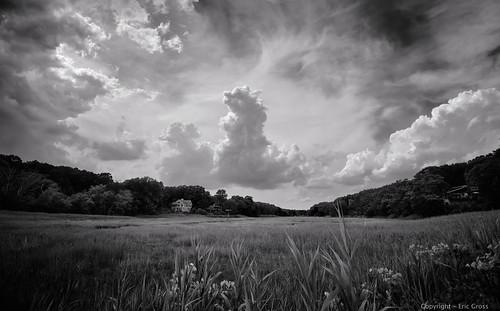 clouds wetlands summer light sky blackandwhite bw monotone ct connecticut newengland landscape nature