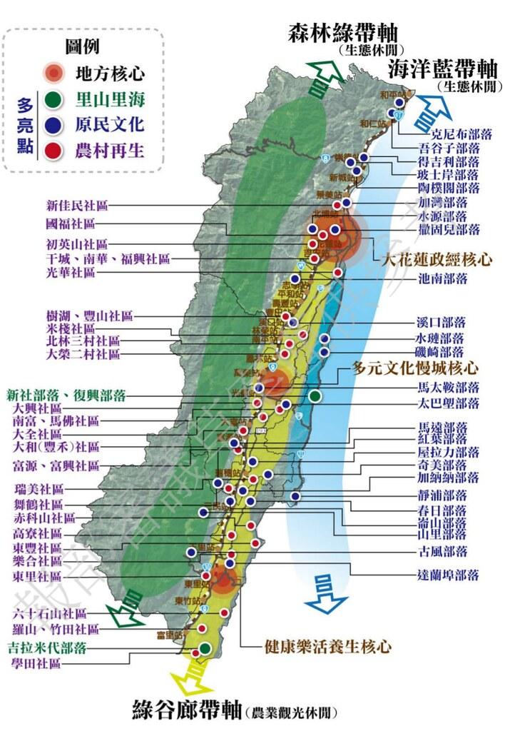 花蓮縣整體空間發展構想示意圖。圖片來源:花蓮縣國土計畫