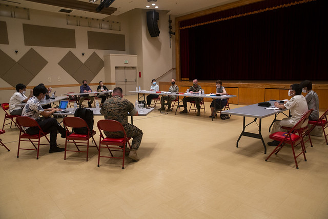 U.S. Navy and Marine Corps leadership meet with Japanese media in Okinawa to discuss the current COVID-19 climate