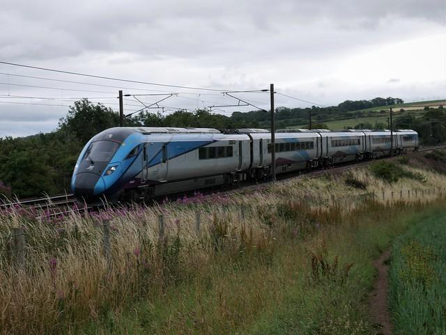 Transpennine Trains 9S11 Newcastle (14.21) to Edinburgh at East Linton on 30 July 2020.