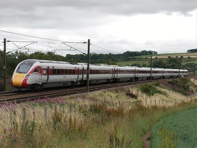 Rear of LNER Azuma 801202 1E20 Edinburgh to London at East Linton on 30 July 2020.