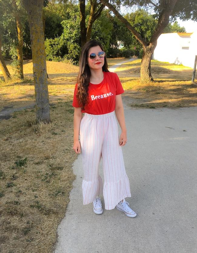 Look rouge et blanc