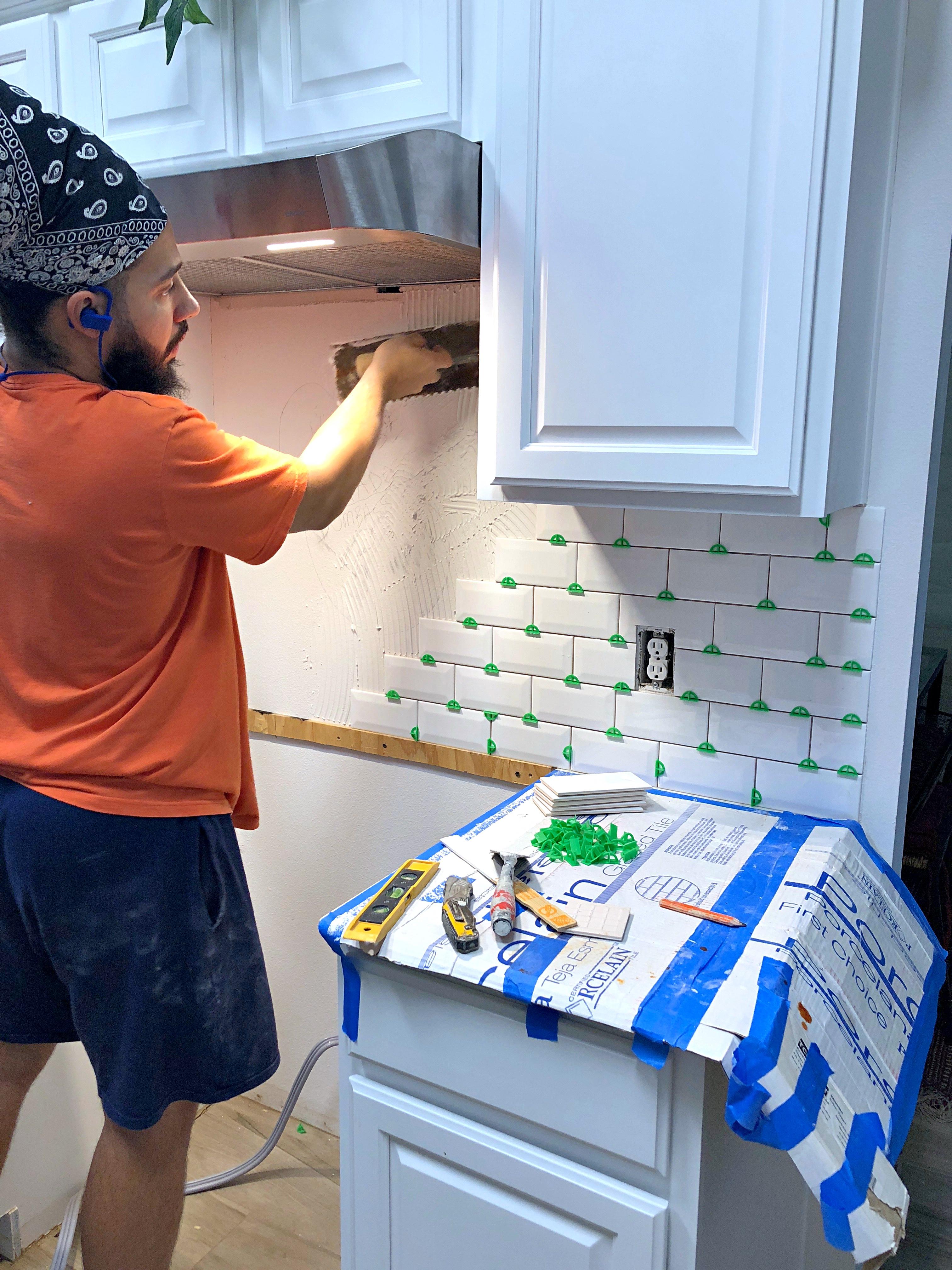 subway kitchen tile install