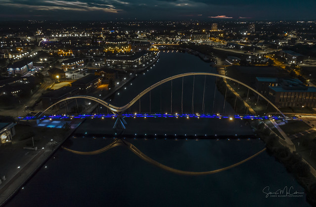 Infinity at night by drone