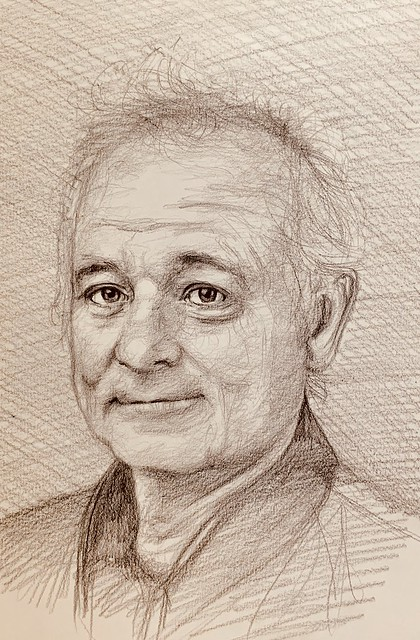Portrait of Bill Murray, American Actor. Coloured Polychromos pencil drawing by jmsw on card. After watching Ground Hog Day.