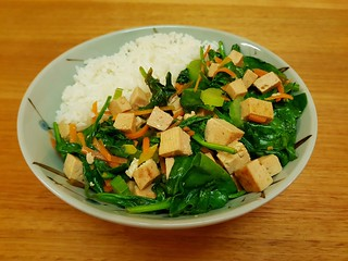 Warm Teriyaki Tofu and Wilted Spinach Salad