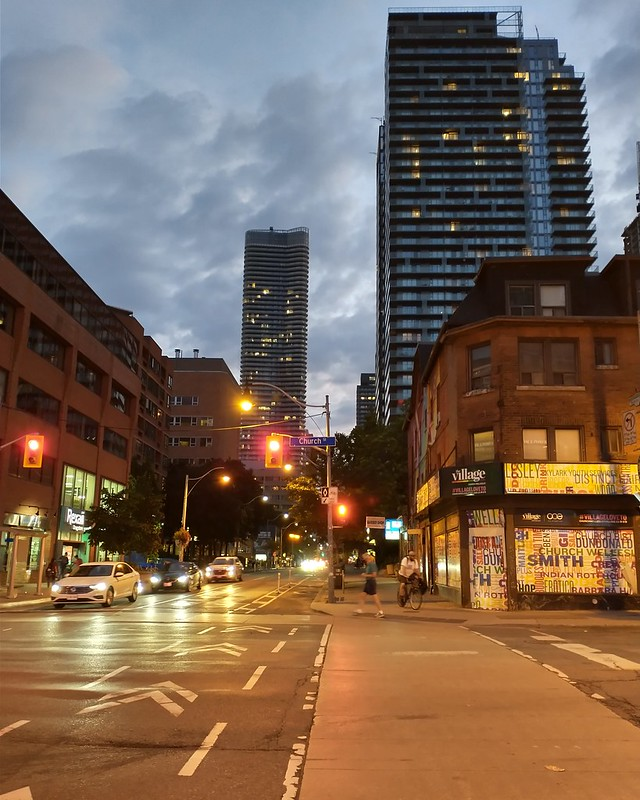 Looking west, Wellesley at Church, 9:03 pm #toronto #churchstreet #churchandwellesley #wellesleystreet #skyline #lights #twilight