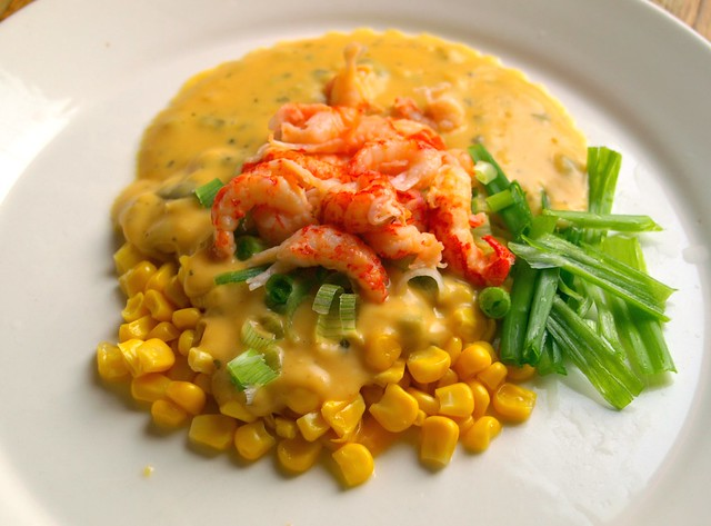 Crayfish Tails with Sweetcorn with Smokin Cheese& Jalapeno Sauce