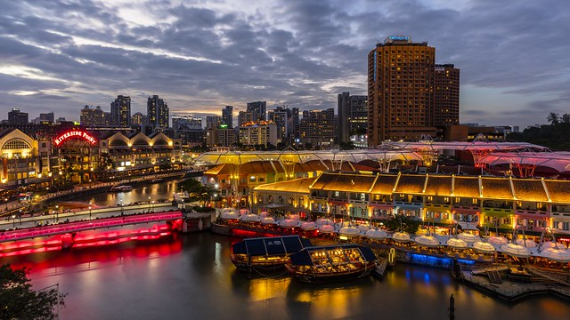 Singapore Clarke Quay Blue Hour Reflections