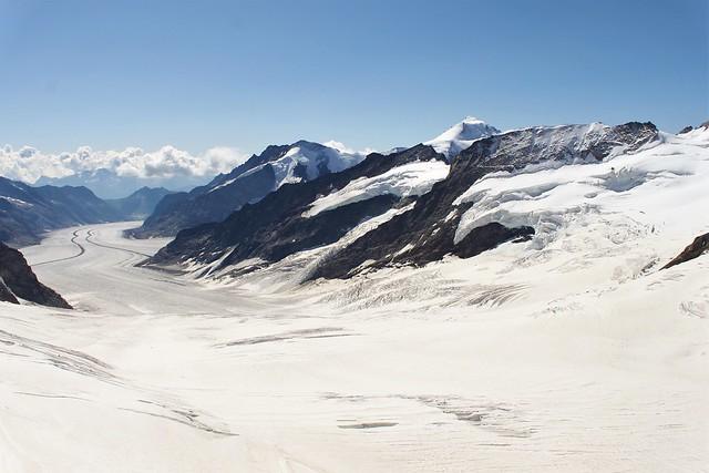 Aletsch Glacier, Longest glacier in Europe, view from Jungfraujoch in Switzerland