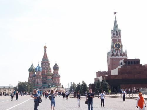 Plaza Roja y Kremlin fe Moscú con el mausoleo de Lenin