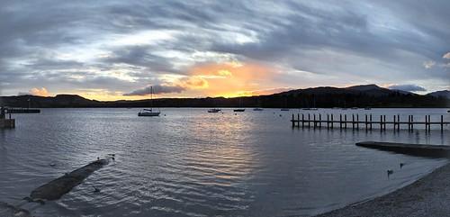sunset lake windermere lakedistrict landscape sunrise nature water blue yellow panorama england uk boat sailing clouds