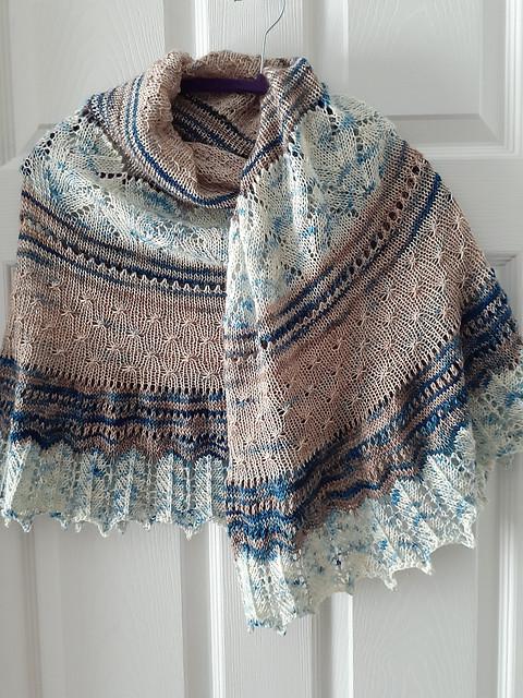 Jocelyn (jocblais) also knit the Stillness Shawl MKAL by Helen Stewart! It was her first mystery knit-along with new clues each week!