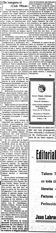 Crónica en El Castellano de la Inauguración del Club Milcar el 18 de julio de 1933