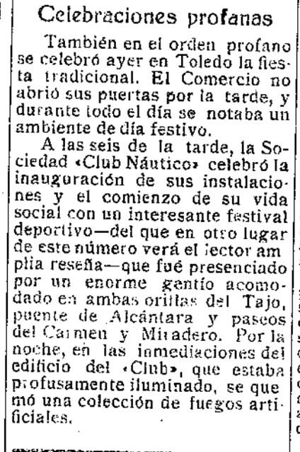 Crónica de la Inauguración del Club Náutico de Toledo el 30 junio de 1932 en El Castellano (festividad de San Pedro)
