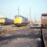 18Oct75. Barnstaple. BR Class 25 25077 25063 (Ex D5227, D5213). [Slide_A057]