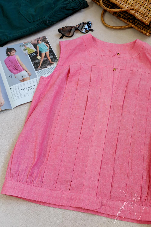 marchewkowa, Wrocław, szycie, Burda 6/2020, model 121, lata 50., retro, bluzka, len, vintage, 1950s, sewing, pleated blouse