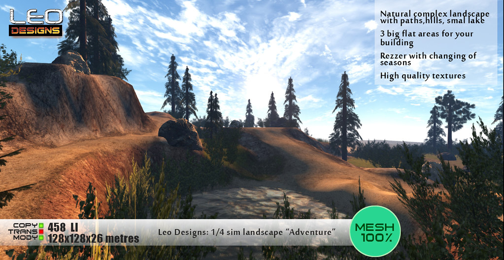 "1/4 Sim landscape ""Adventure"" (Island for 128x128 land size or skybox): Leo Designs store (Second Life)"