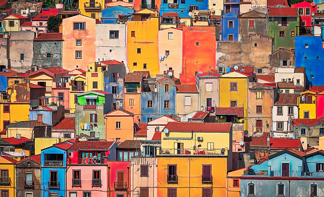 Colorful houses in the town of Bosa, founded in 1112 along the Temo River on the west coast of Sardinia, Italy