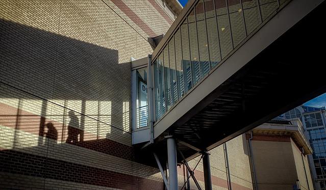 Shadows on a walkway