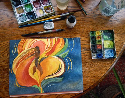 """Set-up for doing a watercolour painting of a Flame Tulip / Fire Dancer, 16"""" x 12"""""""