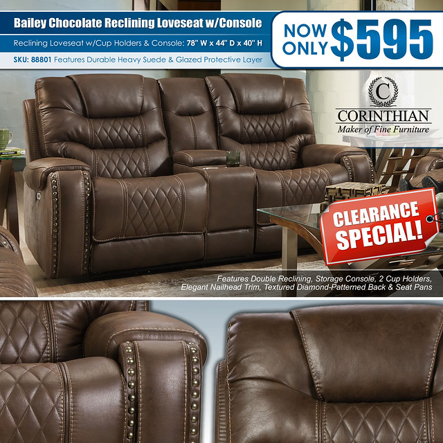 Bailey Desert Chocolate Reclining Loveseat Clearance_88801_Corinthian