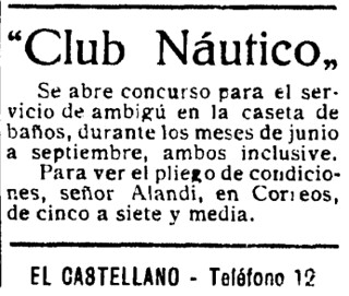 Anuncio del Club Náutico de Toledo en el diario El Castellano, el 30 mayo de 1933, anunciando el concurso para el servicio de ambigú en su caseta de baños.