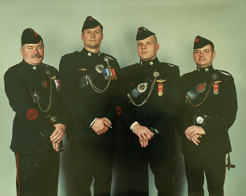 04864 - 2002, Photo, Group shot, 20th Anniversary of Basic Para Course, L-R MWO Scott Patterson, Maj Robert Zeidler, CWO John Wilmot, MWO Shaun Kelly | by L.G.Hicks Memorial Collection