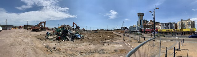 The monstrous Marina Centre on Great Yamouth's seafront is bulldozed ... and on a wonderfully hot and busy day in July, the dust from the site is blown downwind, sprinkled delicately onto visitors' ice creams.