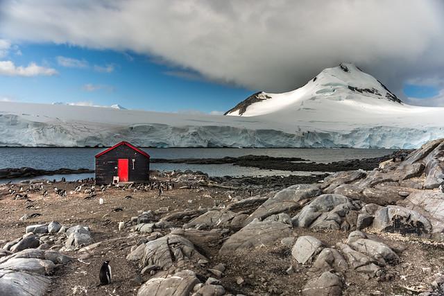 Glimpses of sunshine over Port Lockroy, Antarctica