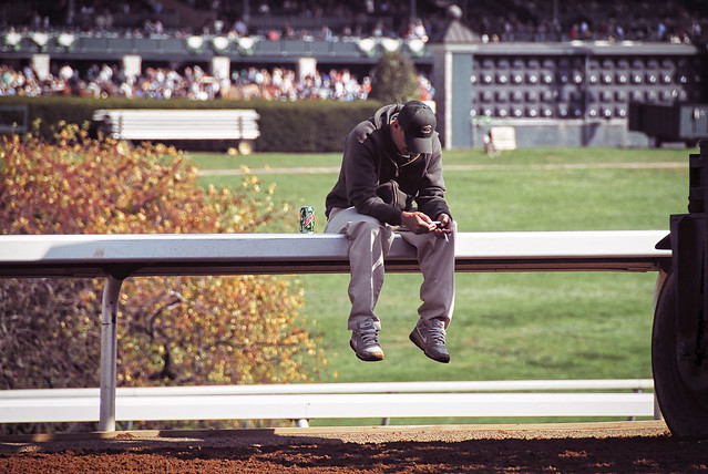 Track worker between horse races