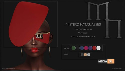Mistero Hat&Glasses by Madame Noir  – NEW - Giveaway! | by Media-SL
