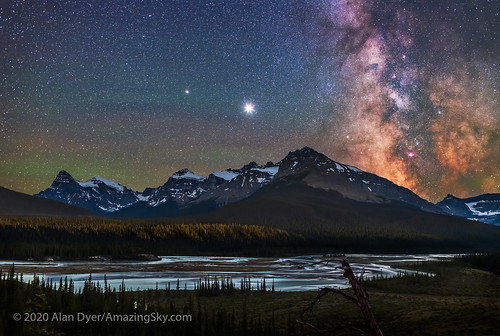 Planets and Milky Way Over Saskatchewan River Crossing | by Amazing Sky Photography