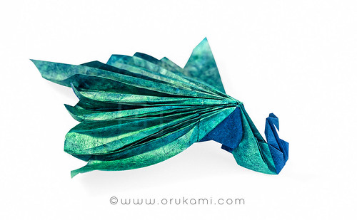 Origami Seated Peacock by Himanshu
